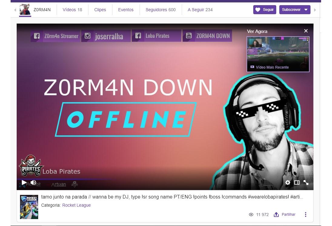 Sigam z0rm4n em Twitch.tv